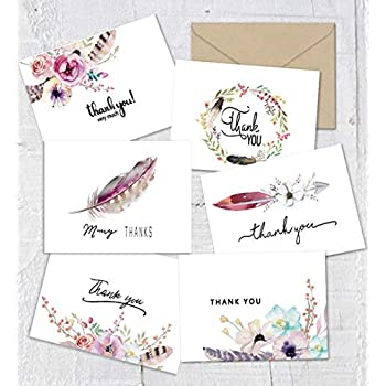 thank you cards boho spirit chic thank you notes card 48 bulk pack thank you cards set blank inside 4 x 6 inches bridal shower or baby shower wedding