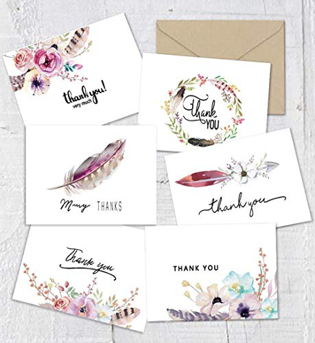 Thank You Cards Boho Spirit Chic Thank You Notes Card, 48 Bulk Pack Thank You Cards Set, Blank Inside, 4 x 6 Inches - Bridal Shower or Baby Shower Wedding Thank You Card with Envelopes and Stickers ()