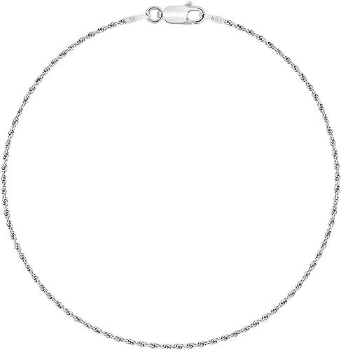 Planetys Cha/îne de Cheville Argent 925//1000 Rhodi/é Maille Serpent 1.2 mm