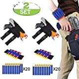 POKONBOY Waistband Compatible with Nerf Guns - 2-Pack Kids Tactical Waist Bag Holster Kit, 2 Blaster Holster and 2 Dart Wrist Kits and 40 Bullets