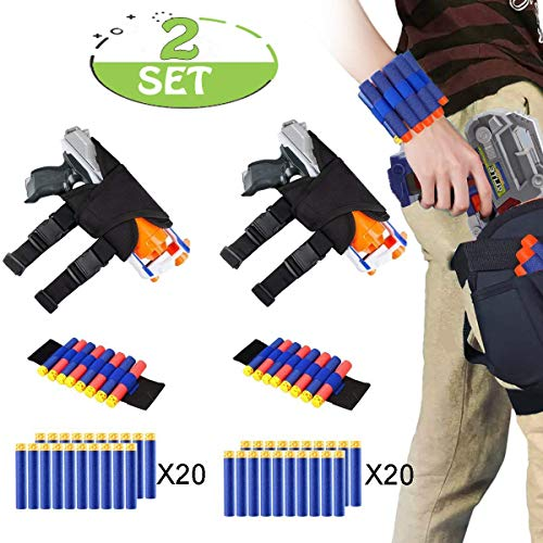 POKONBOY Waistband Compatible with Nerf Guns - 2-Pack Kids Tactical Waist Bag Holster Kit, 2 Blaster Holster and 2 Dart Wrist Kits and 40 Bullets (Guns Not -