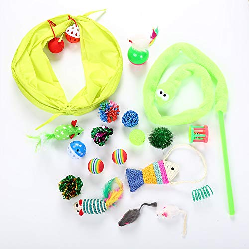 20pcs Combo Pet Cats Tunnel Toy Set Feather Plastic Teaser Wand Toys Sound Bell Ball Cats Interactive Mouse Products Cats Toys