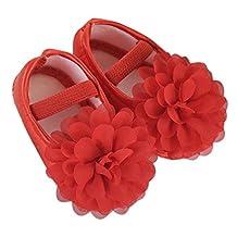 TRENDINAO Toddler Newborn Baby Girls Walking Shoes Chiffon Flower Elastic Band Dress Shoes