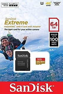 SanDisk 0 - Tarjeta de memoria SanDisk Extreme microSDHC de 64 GB para cámaras de deportes de acción más adaptador SD de hasta 100 MB/s, Class 10, U3, V30, A1 (, , rpm, 64, GB)