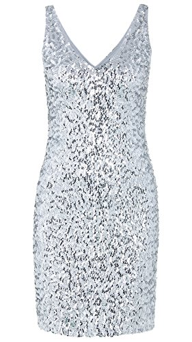 JustinCostume Women's Sequin Costume Sleeveless Short Sparkly Dress L Silver (Sparkly Fancy Dress)