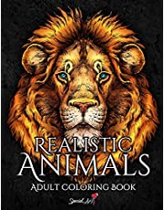 Realistic Animals: An Adult Coloring Book with beautiful illustrations of lions, tigers, wolves, koalas, parrots, dogs, cats, and much more