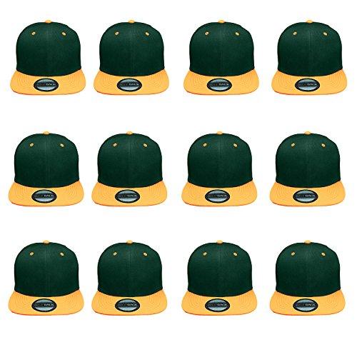 - Gelante Plain Blank Flat Brim Adjustable Snapback Baseball Caps Wholesale LOT 12 Pack (Huntergreen/Gold)