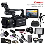 Canon XA11 Compact Full HD Camcorder 2218C002 With 2-64GB Cards, 2 Extra Batteries and Charger, LED Light, Case, Tripod, Rode VM-GO Mic, Screen, Sony MDR-7506 Headphones - Professional Bundle