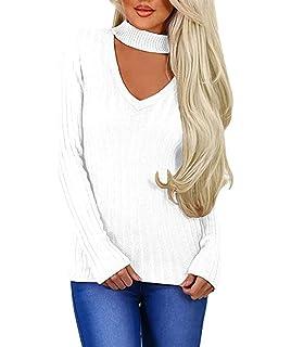SEBOWEL Women s Casual Ribbed Choker Neck Long Sleeve Sweater Jumper Tops  Plus Size a9e1daaca