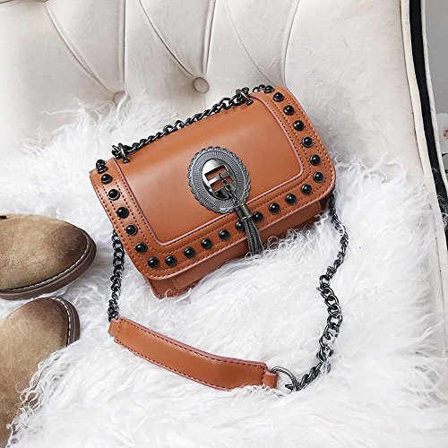 Women Chain Metal Crossbody Purse for Designer Handbags Classic Brown Leather Strap PU Shoulder Bag xRqYIB