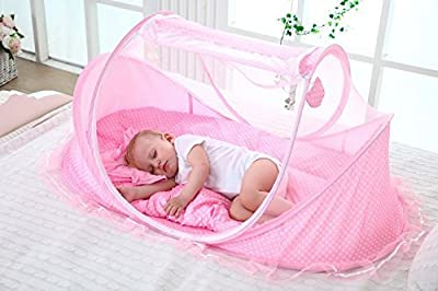 SUPOW Baby Mosquito Net Bed, Portable Infant Tent Folding Infant Travel Crib Mosquito Bed Summer