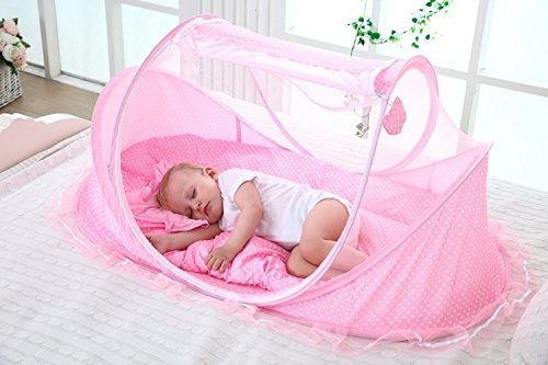 SUPOW Baby Mosquito Net Bed, Portable Infant Tent Folding Infant Travel Crib Mosquito Bed Summer (Pink/) by SUPOW