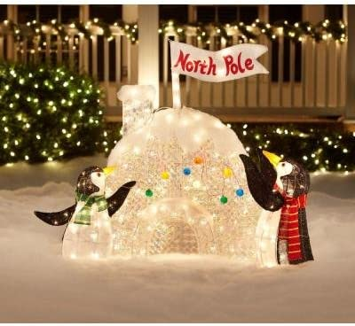 Christmas Decoration Yard Lawn Garden Lighted Penguin Igloo 48 Tall Amazon Co Uk Garden Outdoors