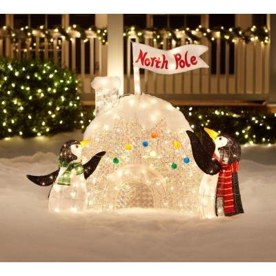 christmas decoration yard lawn garden lighted penguin igloo 48