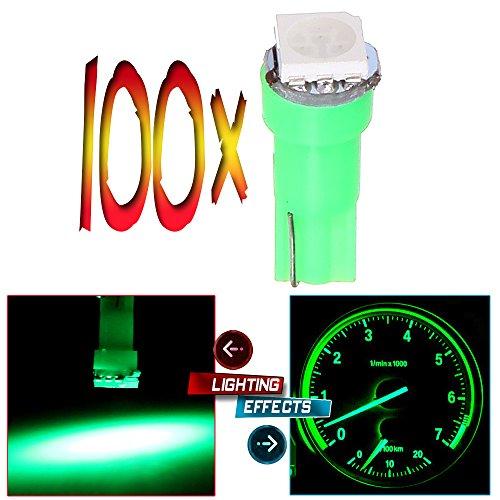 cciyu 100x Green T5 70 74 73 1-5050SMD Instrument Gauge Dash Indicator LED Light Bulbs (green)