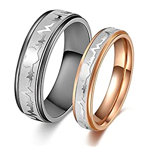 Global Jewelry Titanium Stainless Steel We Love Each Other Wedding Band Set Anniversary/Engagement/Promise/Couple Ring…
