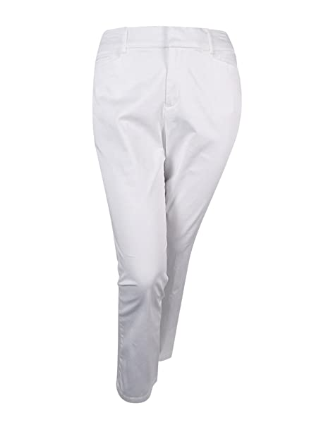 0e0637616e8 Image Unavailable. Image not available for. Color  JM Collection Womens  Plus Twill Comfort Waist Straight Leg Pants White 24W