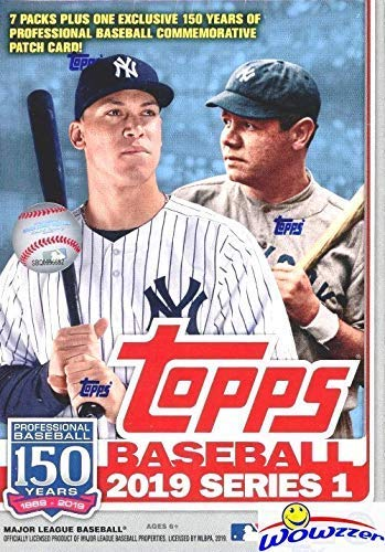 - 2019 Topps Series 1 MLB Baseball EXCLUSIVE Factory Sealed Retail Box with 98 Cards & SPECIAL MLB 150th Anniversary Commemorative PATCH! Loaded with Rookies & Inserts! Look for Autos & Relics! WOWZZER!