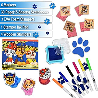 PAW Patrol Coloring Stamper and Activity Set, Mess Free Craft Kit for Toddlers and Kids, Drawing Art Supplies Included Sketch Book, 6 Color Markers, 3 Foam and 4 Wooden Stampers: Toys & Games