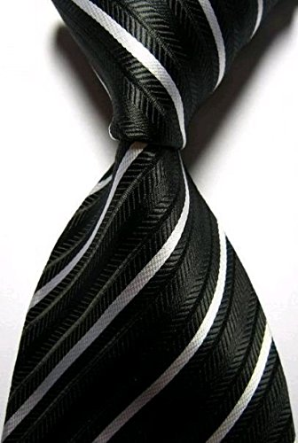 Dash Luxury Silk Jacquard Woven Necktie in Black and White Stripes