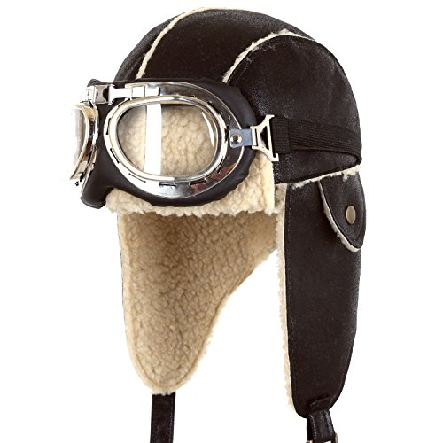 ililily Aviator Hat Winter Snowboard Fur Ear flaps Trooper Trapper Pilot Goggles, Brown,One Size - Aviator Buy Goggles