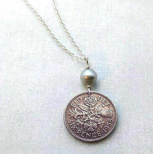 Scottish Thistle Jewellery (Sixpence Coin Necklace. 1959 Sixpence necklace. 60th birthday. Wedding sixpence. English Rose. Irish Shamrock. Scottish Thistle. Welsh)
