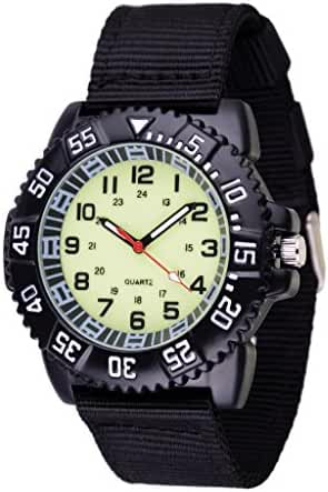WOLFTEETH Water Resistant Analog Quartz Beige Dial Black Band Luminous Military Boy Wrist Watch #3021