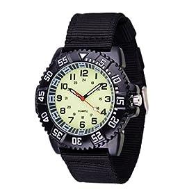 WOLFTEETH Water Resistant Analog Quartz Beige Dial Black Band Luminous Military Boy Wrist Watch #3021