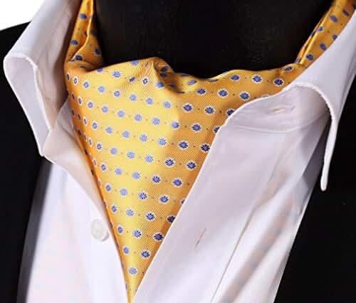 SetSense Men's Floral Jacquard Woven Self Cravat Tie Ascot