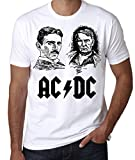 AC/DC Edison vs Tesla T-Shirt, War of Currents Tee, Men's Women's Tee (L - Male) White