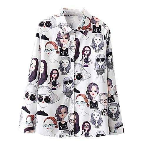 MIUCATWomen Fashion Short Sleeve Vintage Print Korean Shirt Casual Loose Blouse Cute Cartoon Blouse White