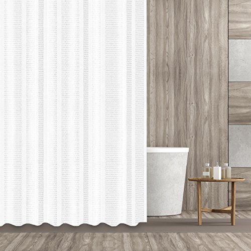 Hermosa Collection Heavy Fabric 230 GSM Waffle Shower Curtain 72-Inch-by-72, White (Shower Curtain White)