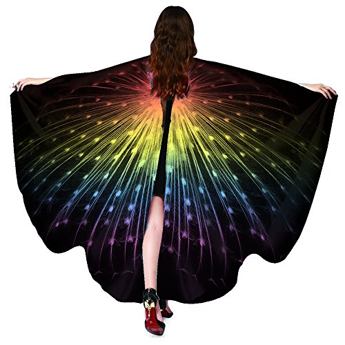 DayVacation Halloween/Christmas/Party Prop Soft Fabric Butterfly Wings Shawl Fairy Ladies Nymph Pixie Costume Accessory (168x135cm, Peacock Gold) ()
