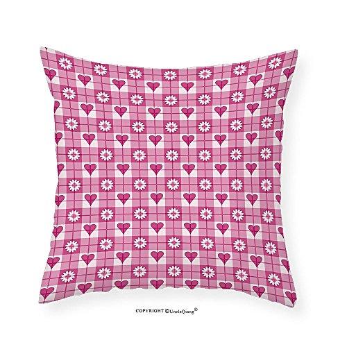 Tube Lined Rose (VROSELV Custom Cotton Linen Pillowcase Hearts Flower Petals on Square Lined Background Kids Girls Lovely Image for Bedroom Living Room Dorm Magenta Light Pink 24