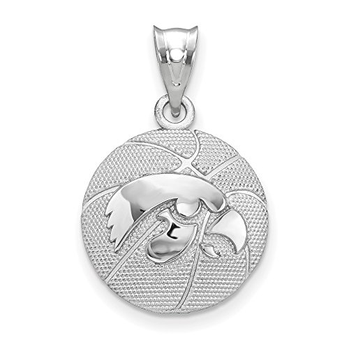 Sterling Silver University of Iowa NCAA Iowa Jewelry Pendants & Charms 16 mm 25 mm The University of Iowa Basketball Pendant