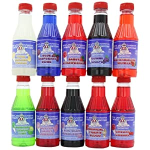 Polar Cones Premium Snow Cone & Shaved Ice Syrup, Flavor Variety Pack, Ten 1 Pint Bottles, 160 oz. (Nt. Wt.)