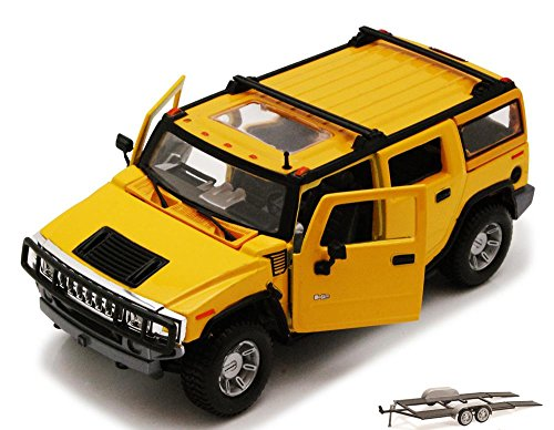 Diecast Car & Trailer Package - 2003 Hummer H2 SUV w/ Sunroof, Yellow - Maisto Special Edition 31231 - 1/27 Scale Diecast Model Toy Car w/Trailer ()