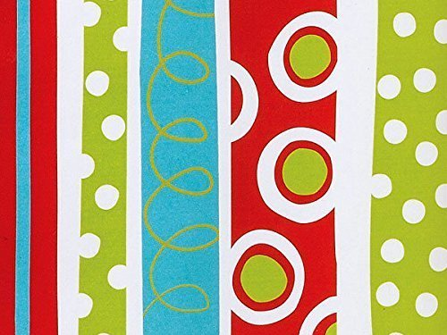 Trendy RED GREEN BLUE POLKA DOT SWIRLS STRIPES Christmas Gift Wrap Paper - 16 Foot Roll (Wrap Gift Stripe Christmas)