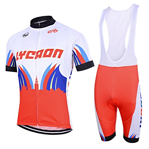 LYCAON Cycling Suit, Breathable, 3D Gel Padded, Short Sleeve, Bicycle Bike Jersey & Bib Shorts Set (XL, White) (Bad Boy Top Men Tank)