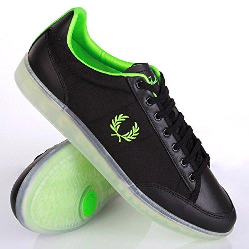 Fred Perry Soho Hopman Leather Nylon Black Green Black