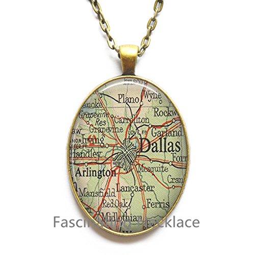 Charming Necklace Dallas map Pendant, Dallas map Necklace, Dallas Pendant, Dallas Necklace, map - Highlands Map Arlington