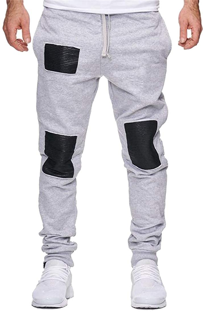 Fubotevic Mens Plus Size Vogue Active Splicing Drawstring Jogger Pants Trousers Lounge Pants Trousers