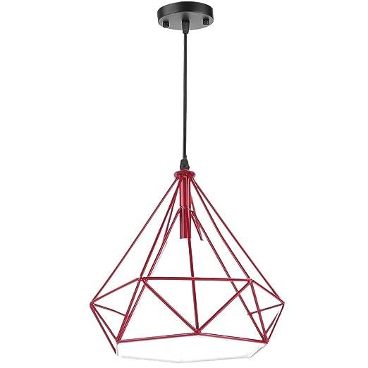 lámpara colgante de hierro de diamante, luz de techo semi ...