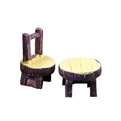 5 Sets of Miniature Resin Chairs Table Micro Landscape Bonsai Dollhouse