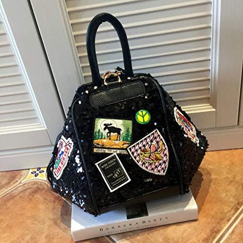 sac à U210 matériel déformation bandoulière Mme sequin multi noir code usages badge Sac bag Messenger à main PU M PqwnTCva