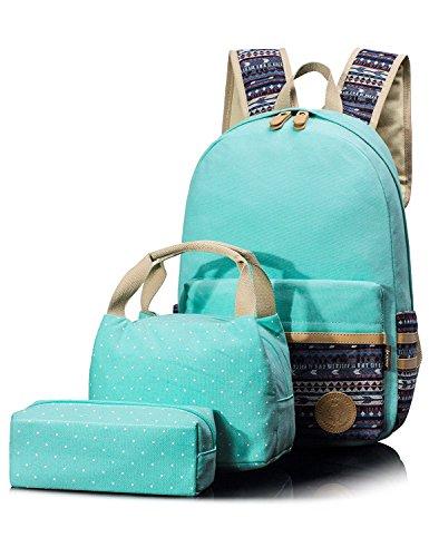 Leaper Cute Laptop Backpack School Bookbag Lunch Bag Pencil Case 14 Inch Laptop (Water Blue)