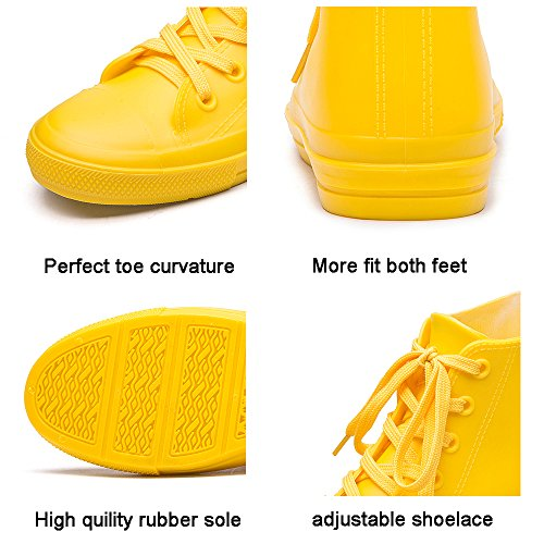 Women's Rain DKSUKO Slip Anti with Shoes Up Rain High Garden Lace Yellow Shoes Top Boots Yellow Waterproof CSwFqYxw