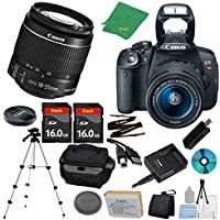 Canon EOS Rebel T5i DSLR with 18-55mm IS STM + 2pcs 16GB Memory Card + Camera Case + Card Reader + Tripod + 6pc ZeeTech Starter Set - International Version