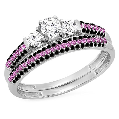 (Dazzlingrock Collection 10K Round White & Pink Sapphire, Black Diamond Bridal Engagement Ring Set, White Gold, Size 7)