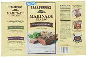 Lea & Perrins Marinade In-A-Bag, Cracked Peppercorn, 12 Ounce (Pack of 10)